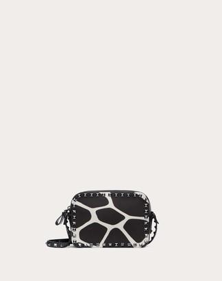 Valentino Small Rockstud Crossbody Bag In Giraffe Print Canvas Women Black/ivory Cotton 100% OneSize