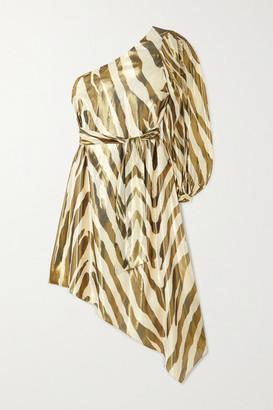 HANEY Annika Metallic Zebra-print Silk And Lurex Blend Dress - Zebra print