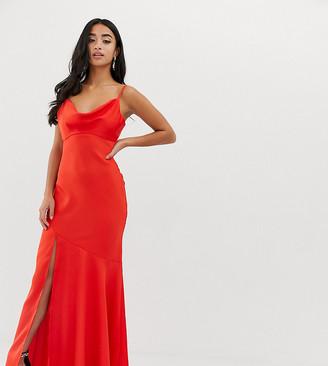 Asos DESIGN Petite bias cut satin slip maxi dress with drape neck-Orange