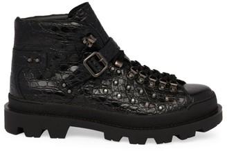 Prada Crocodile Studded Combat Boots