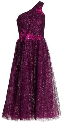 Marchesa Glitter Tulle One-Shoulder Dress