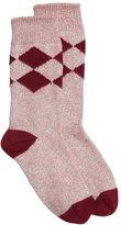 Burberry Marbled Diamond-Pattern Cotton Socks, Burgundy