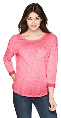 Three Dots Women's slub Jersey 3/4 SLV Loose mid Hem Shirt
