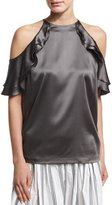 Brunello Cucinelli Ruffled Satin Cold-Shoulder Top
