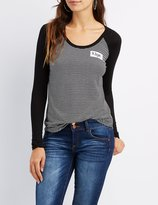 Charlotte Russe Patched Ringer Striped Tee
