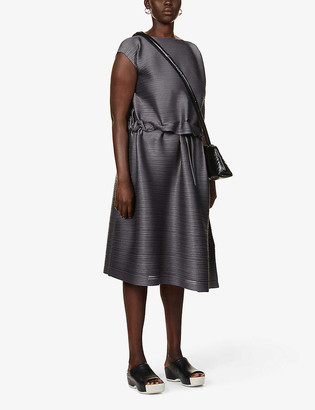 Pleats Please Issey Miyake Square neck pleated woven midi dress