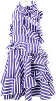 Maison Rabih Kayrouz striped ruffled sleeveless dress