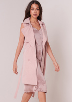 Missy Empire Yolanda Dusty Pink Sleeveless Trench Coat