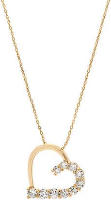 clear SPARKLE ALLURE Sparkle Allure Half Heart Pendant Womens Lab Created Cubic Zirconia 14K Gold Over Brass Heart Pendant Necklace