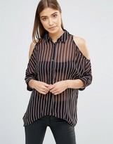 AX Paris Pinstripe Cold Shoulder Shirt