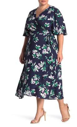 Bobeau Orna Printed Midi Wrap Dress (Plus Size)