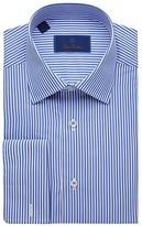 David Donahue Regular Fit Long Sleeve Dress Shirt (Blue/White) Men's Dress