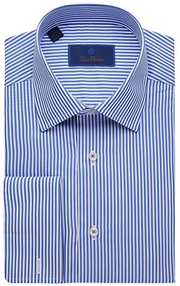 David Donahue Regular Fit Long Sleeve Dress Shirt (Blue/White) Men's Dress