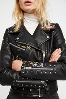 Driftwood Faux Leather Embroidered Moto Jacket by at Free People