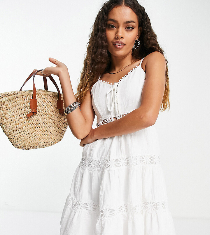 Thumbnail for your product : Parisian lace insert cami strap swing dress in white