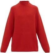 Raey - Funnel Neck Ribbed Wool Sweater - Mens - Dark Orange