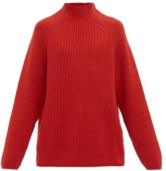 Raey Funnel Neck Ribbed Wool Sweater - Mens - Dark Orange