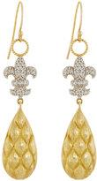 Jude Frances 18K Pave Diamond Fleur-de-Lis Dangle & Drop Earrings