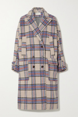 MUNTHE Lin Oversized Double-breasted Checked Wool-blend Coat - Ecru