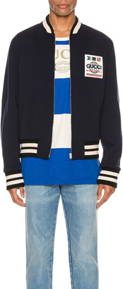Gucci Jersey Wool Bomber Jacket in Vivid Blue & Mix | FWRD