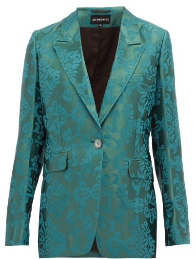Ann Demeulemeester Daphne Single Breasted Floral Jacquard Blazer - Womens - Green