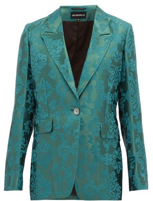 Ann Demeulemeester Daphne Single-breasted Floral-jacquard Blazer - Womens - Green