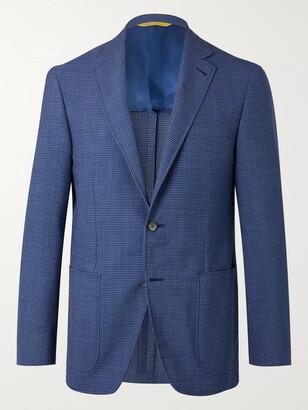Canali Kei Slim-Fit Checked Wool-Blend Seersucker Suit Jacket
