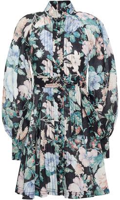Zimmermann Belted Floral-print Linen-gauze Mini Dress