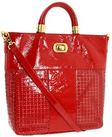 Adrienne Vittadini Bianca Patent Perforated Tote (Red) - Bags and Luggage