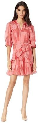 Rebecca Taylor Long Organza Check Dress (Kiss) Women's Dress