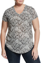 Vince Camuto Short-Sleeve Printed Top, Rich Black, Plus Size