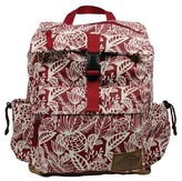 Dickies Printed Rucksack Canvas Backpack Handbag with Front Zip Pocket Side Water Bottle Pockets - Red
