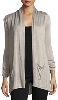 Joan Vass 3/4-Sleeve Patch-Pocket Cardigan