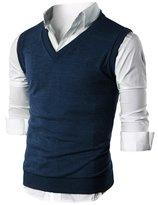 Ohoo Mens Slim Fit Casual V-Neck Knit Vest/DCV010-XL