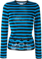 Paco Rabanne perforated striped jumper - women - Viscose - S
