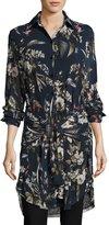 Fuzzi Long-Sleeve Button-Front Botanical-Print Tunic, Navy