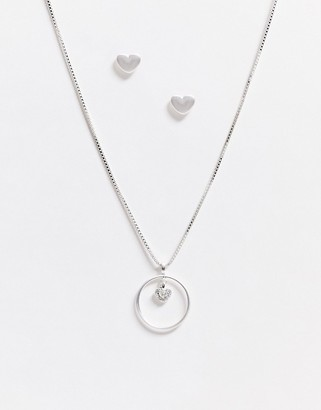 Pilgrim gifr set silver plated heart earrimgs and necklace in silver