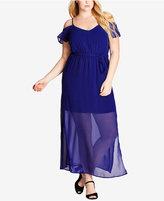 City Chic Trendy Plus Size Cold Shoulder Illusion Dress
