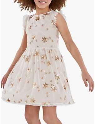 Mint Velvet Mintie by Girls' Gold Star Party Dress, Neutral/Gold