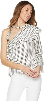 Plumberry Women's One Shoulder Ruffle Blouse With Tie X-Large White With Dots