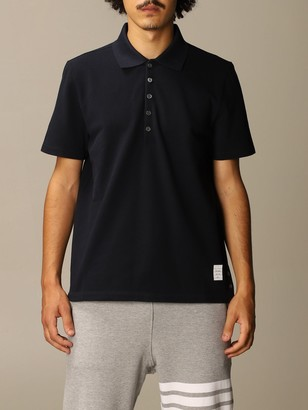 Thom Browne Cotton Polo Shirt With Striped Bands