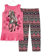 Knitworks Knit Works Beautees 3-pc. Graphic Tank Top, Print Leggings and Necklace - Girls 7-16 and Plus