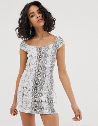 FAE snakeprint square neck mini dress