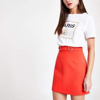 River Island Womens Orange diamante trim mini skirt