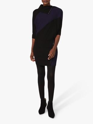 Phase Eight Becca Colour Block Stud Dress, Black/Navy