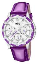 Lotus Women's Quartz Watch with White Dial Analogue Display and Purple Leather Strap 15746/6