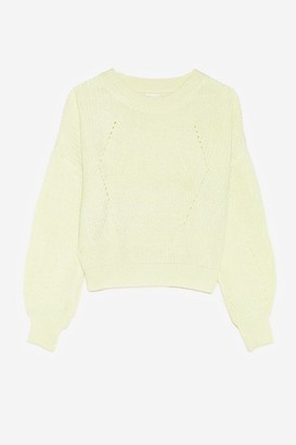 Nasty Gal Womens Crew Neck Chunky Knit Sweater - Yellow