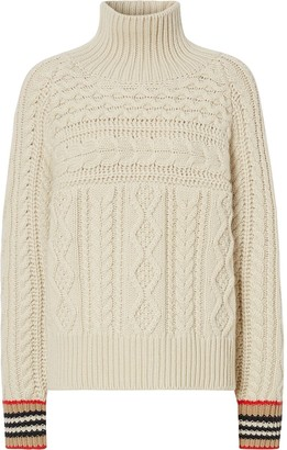 Burberry Icon striped cuffs cable jumper