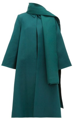 Emilia Wickstead Ellis Stretch-cloque Opera Coat And Scarf - Womens - Dark Green