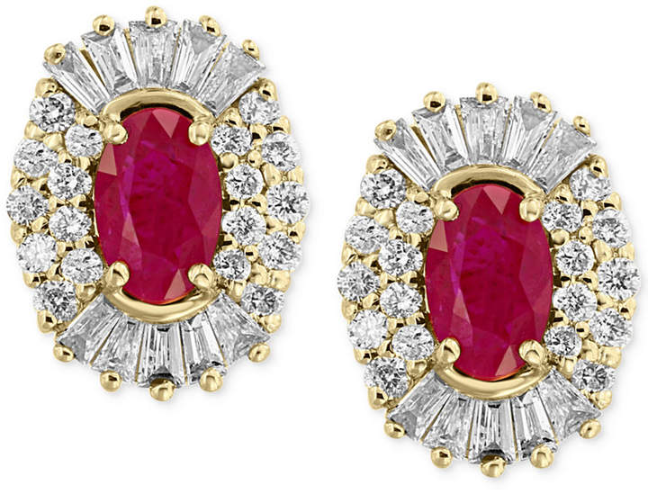 Effy Amore by Certified Ruby (1-1/8 ct. t.w.) and Diamond (5/8 ct. t.w.) Earrings in 14k Gold, Created for Macy's